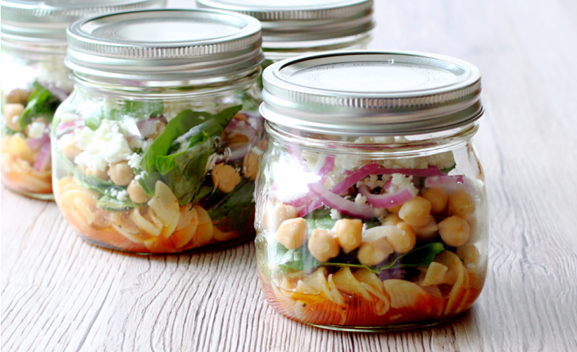 Spinach Noodle Salad Mason Jar Recipe