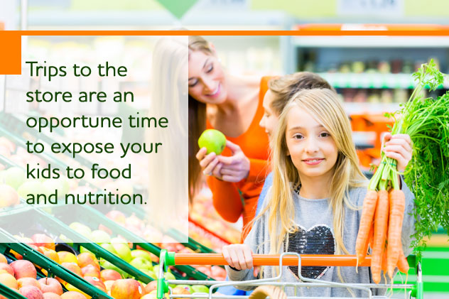 Trips to the store are an opportune time to expose your kids to food and nutrition
