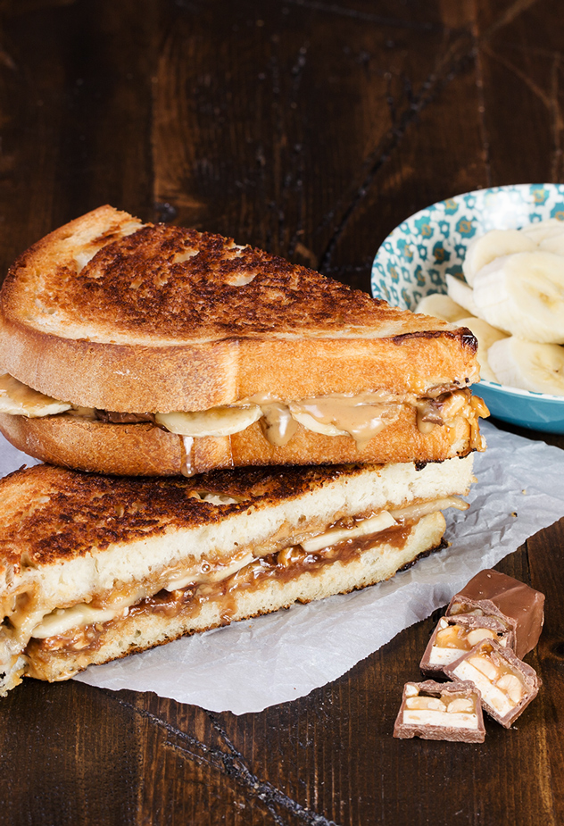 Crunchy Peanut Butter and Banana Grilled Cheese