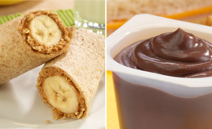 PB and Banana Roll-ups and Chocolate Pudding Cup