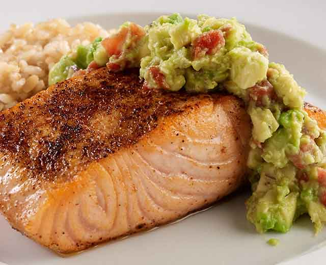 Pan Seared Salmon with Guacamole