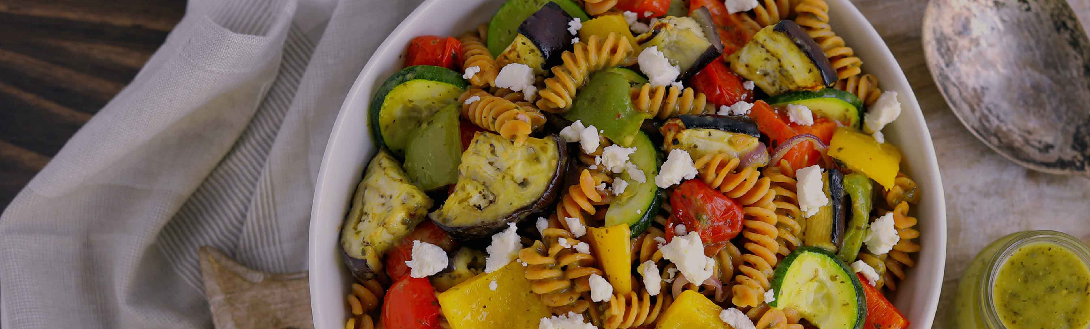 Roasted Vegetable and Goat Cheese Pasta Salad