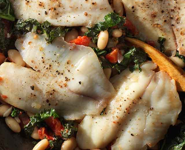 Tilapia with White Beans and Kale Skillet