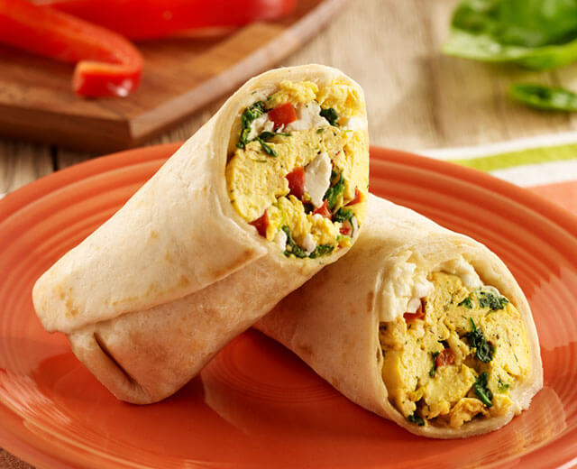 Egg, Spinach and Feta Breakfast Wraps
