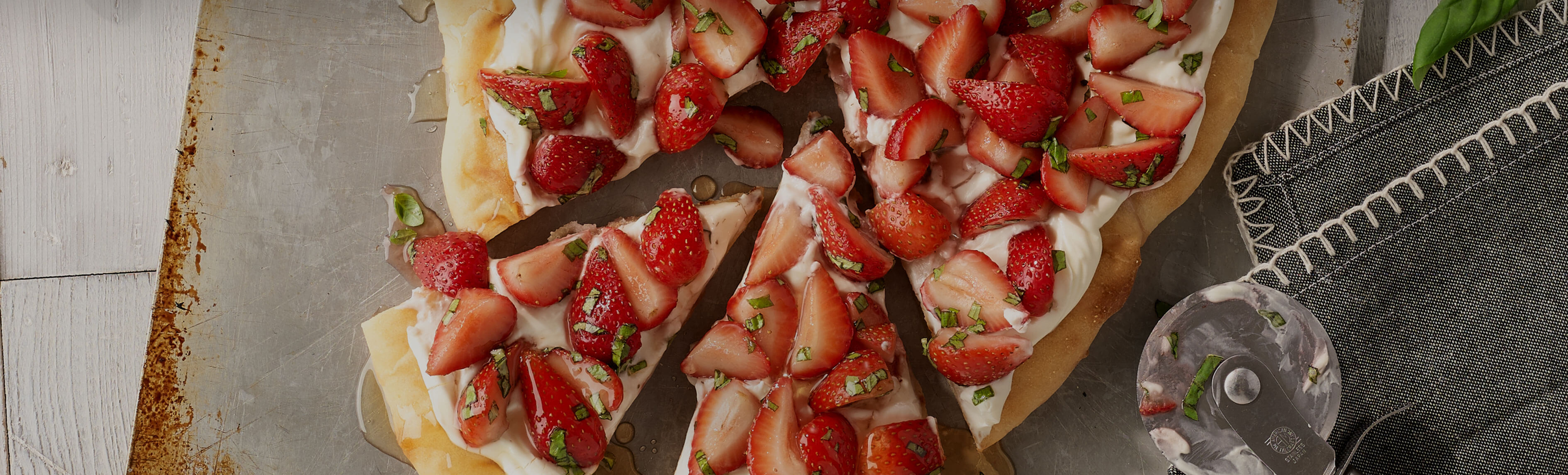 Grilled Strawberry and Basil Dessert Pizza