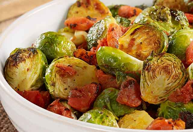 Oven Roasted Brussel Sprouts with Tomatoes