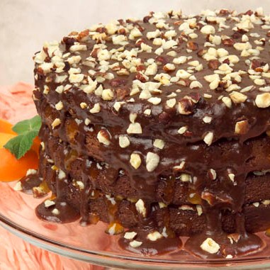 Apricot-Hazelnut Torte with Fudge Glaze