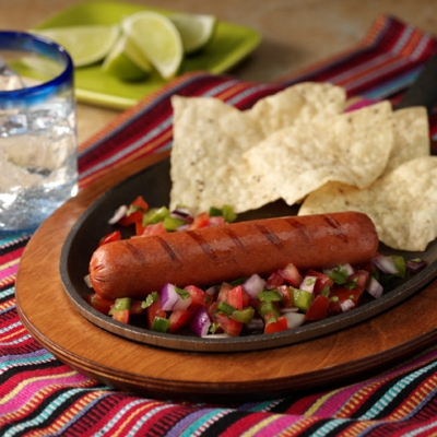 Grilled Dinner Franks with Salsa Cruda