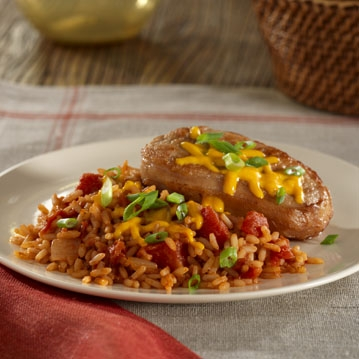 Chili Pork Chops with Rice and Cheese