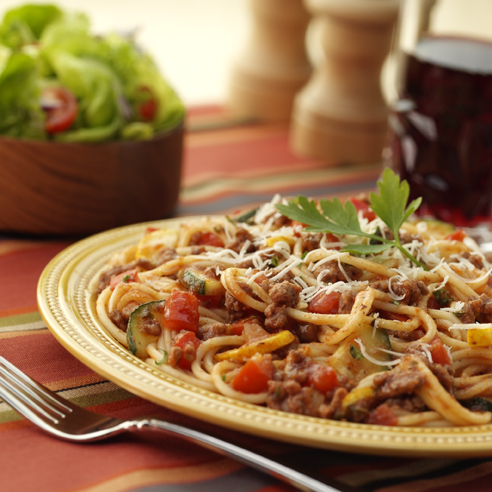 Spicy Spaghetti with Beef and Vegetables