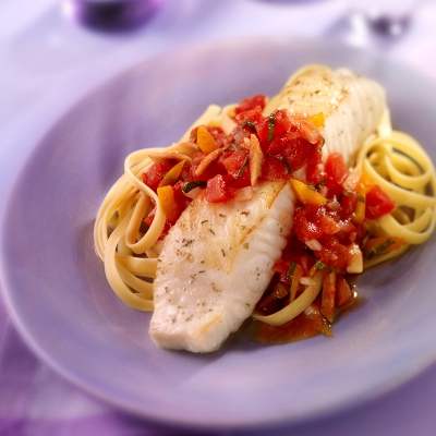 Tilapia with Red Pepper Pomodoro Sauce