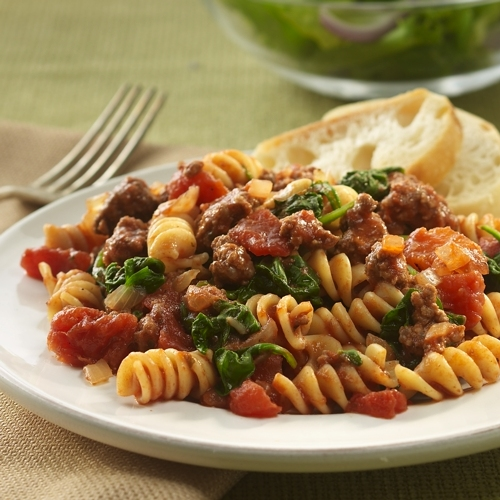 Beefy Tomato and Spinach Rotini