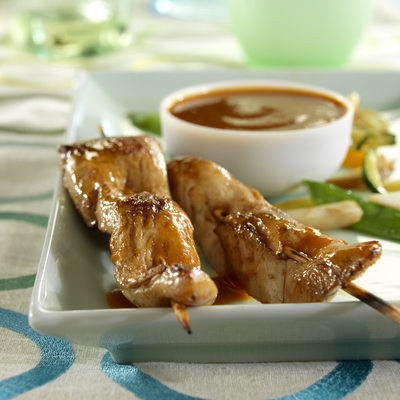 Grilled Chicken Skewers with Peanut Sauce