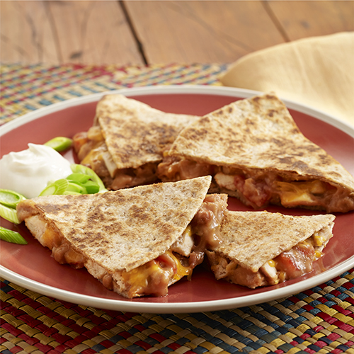 Refried Bean and Chicken Quesadillas