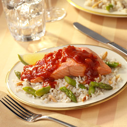 Chile-Lime Salmon with Asparagus Almond Brown Rice