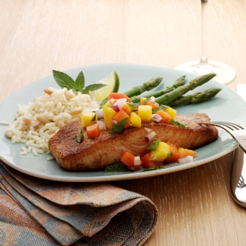 Blackened Salmon with Tropical Fruit Salsa