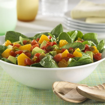 Avocado, Orange and Spinach Salad with Zesty Tomatoes