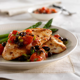Ginger-Garlic Chicken with Black Bean and Tomato Salsa
