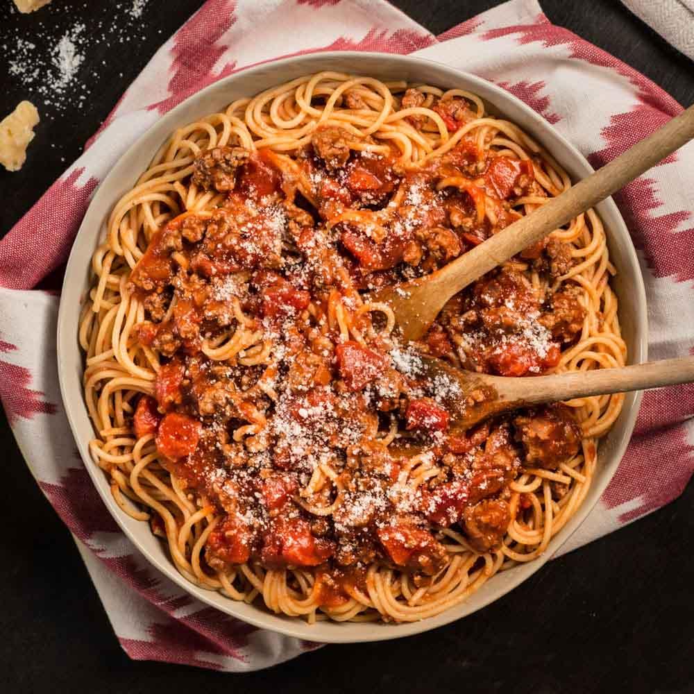 Spaghetti With Chunky Tomato Meat Sauce Ready Set Eat