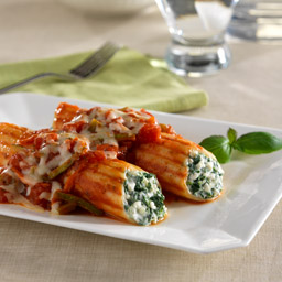 Three-Cheese Manicotti with Chunky Vegetable Sauce