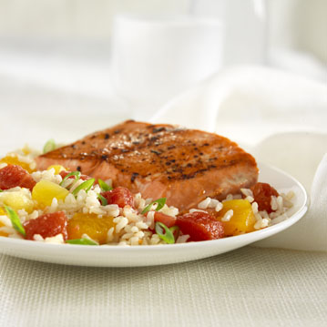 Spicy Salmon with Tropical Salsa Rice