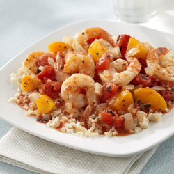 Shrimp with Peach 'Salsa'