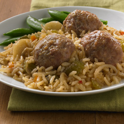 Asian-Style Meatballs with Baked Rice