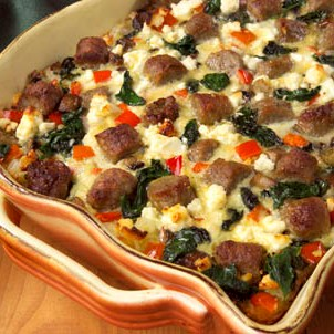 Sausage and Spinach Brunch Bake