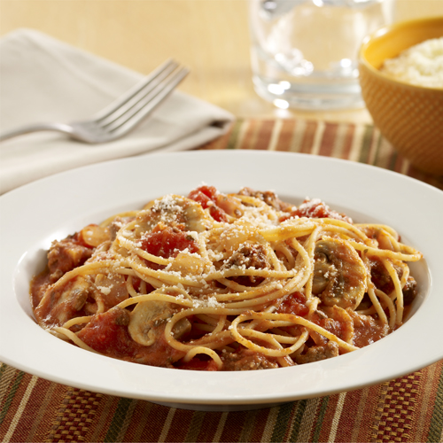 Spaghetti with Meat Sauce and Mushrooms