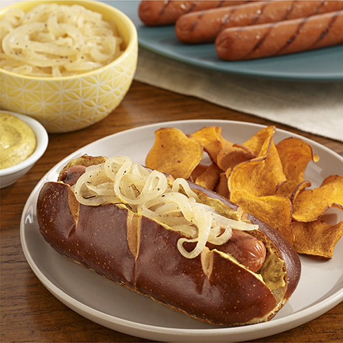 Grilled Franks with Cider Braised Onions
