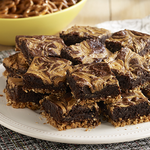 Peanut Butter Stout Brownies with Pretzel Crust