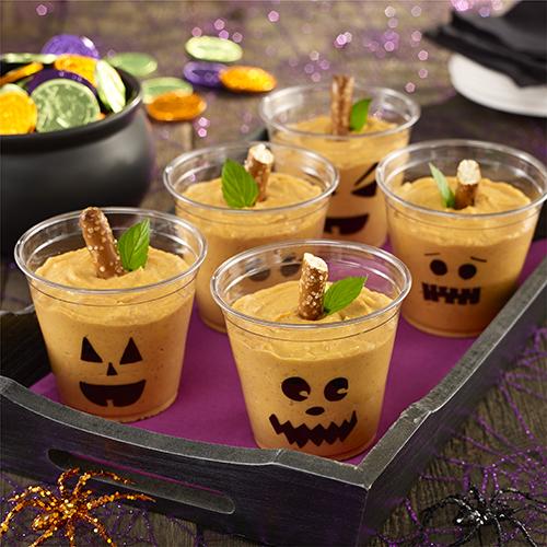 halloween pumpkin pudding cups