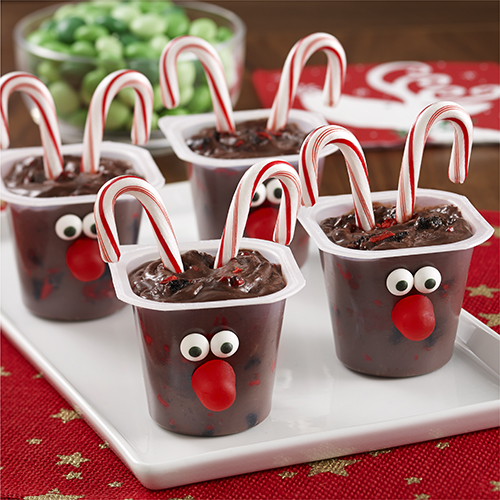 Reindeer Candy Cane Pudding Cups
