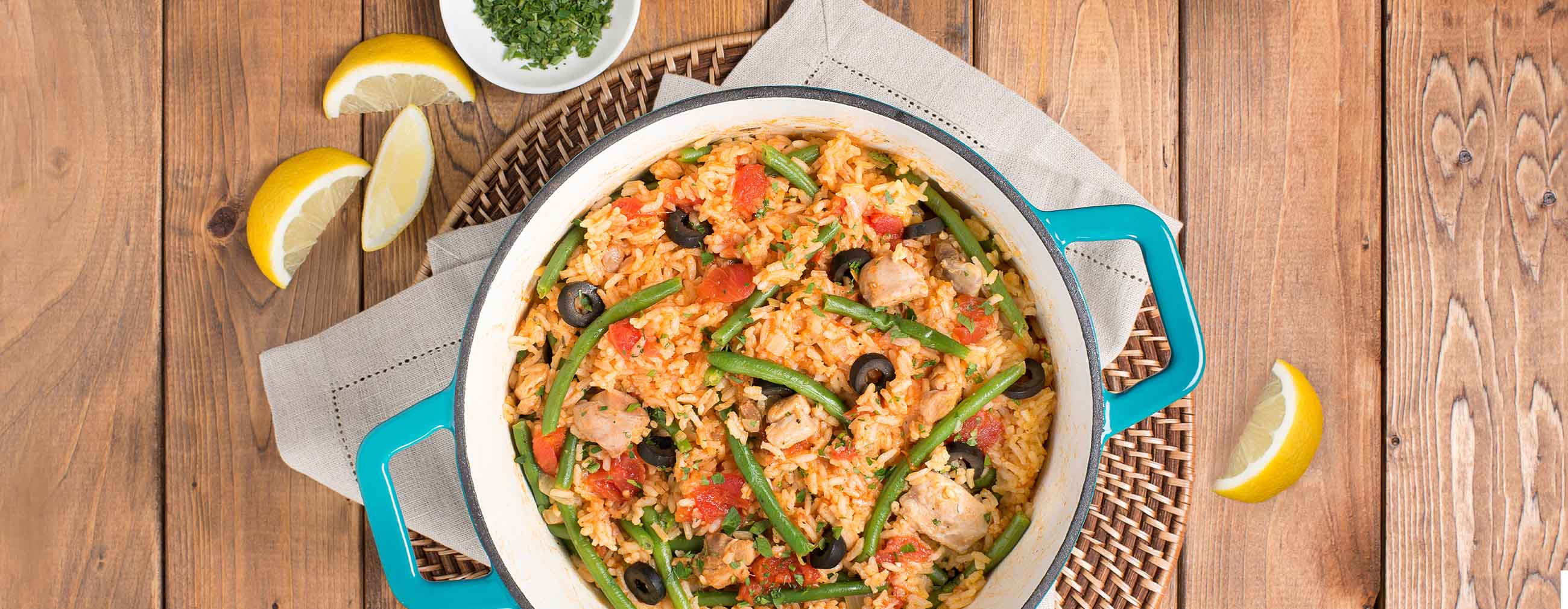 Chicken Paella with French Green Beans