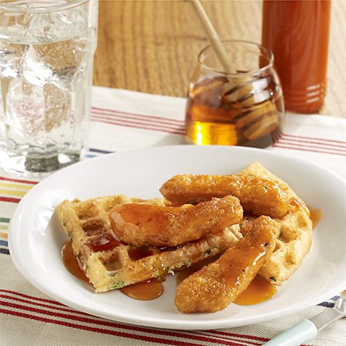 Chicken & Waffles with Hot Honey Sauce