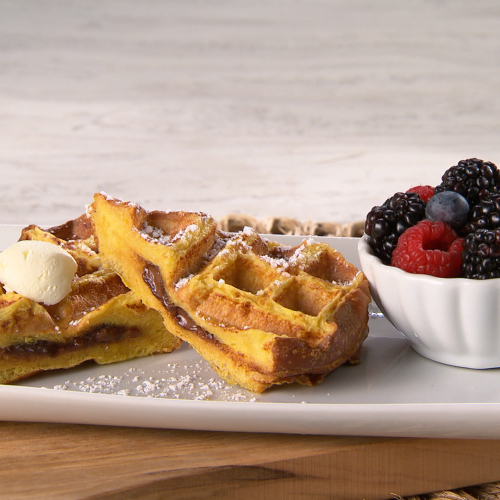 Waffled Chocolate-Stuffed French Toast with Whipped Butter