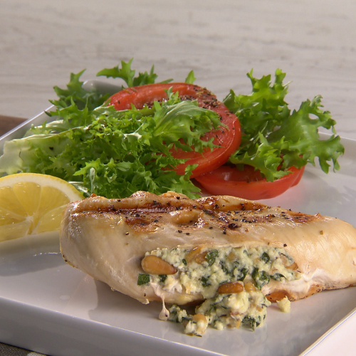 Waffled Chicken Breast Stuffed with Spinach, Pine Nuts and Feta