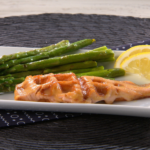 Waffled Salmon with Miso-Maple Glaze and Asparagus