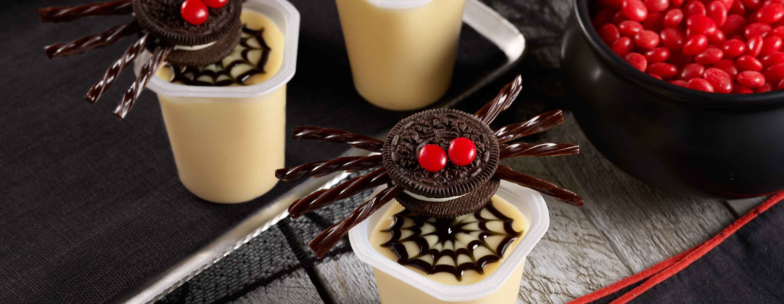 Scary Spider Pudding Cups