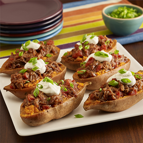 BBQ Pulled Pork Stuffed Sweet Potatoes
