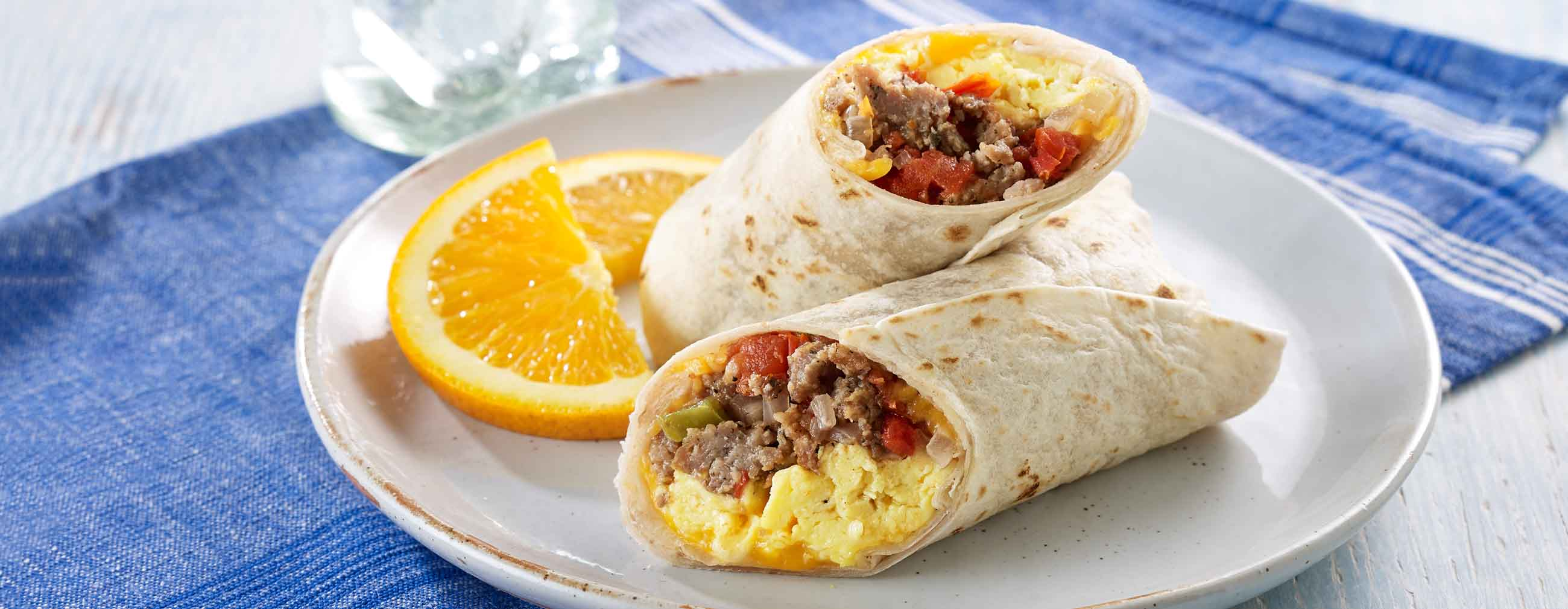 Sausage and Scrambled Egg Burritos