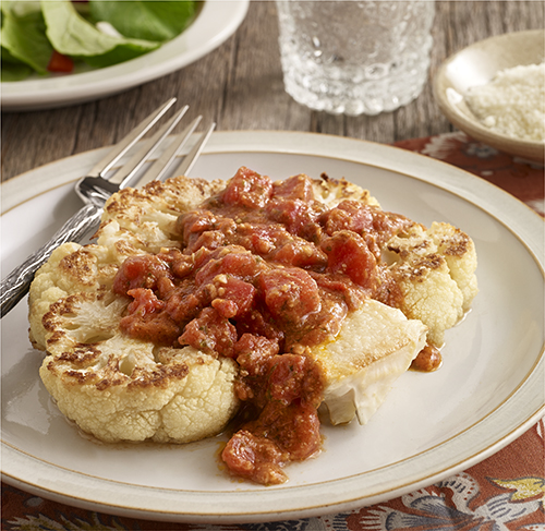 Cauliflower Steaks with Tomato Pesto Sauce