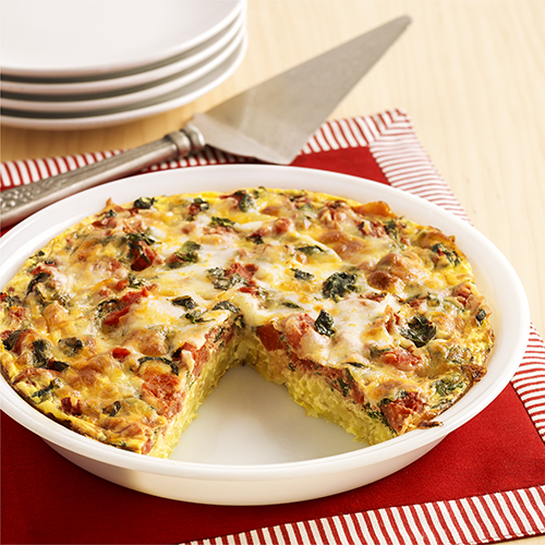 Tomato and spinach hash brown pie ready set eat - Comida vegetariana facil de preparar ...