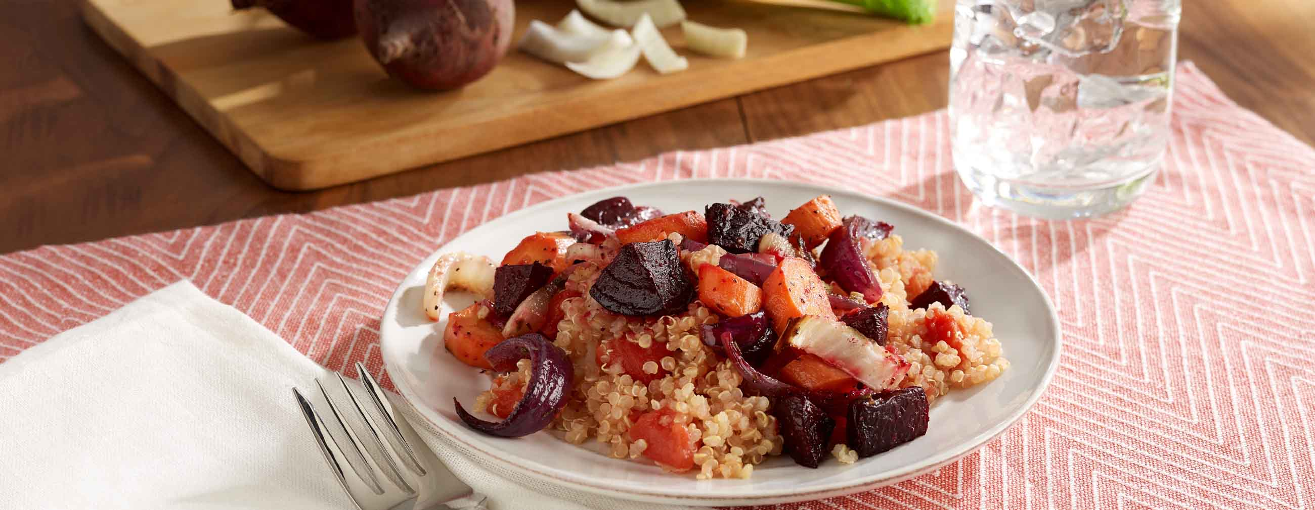 Roasted Beets and Veggies Over Quinoa