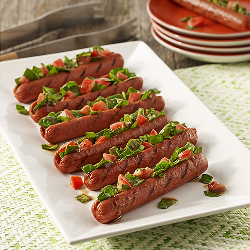 Spinach Salad Stuffed Franks