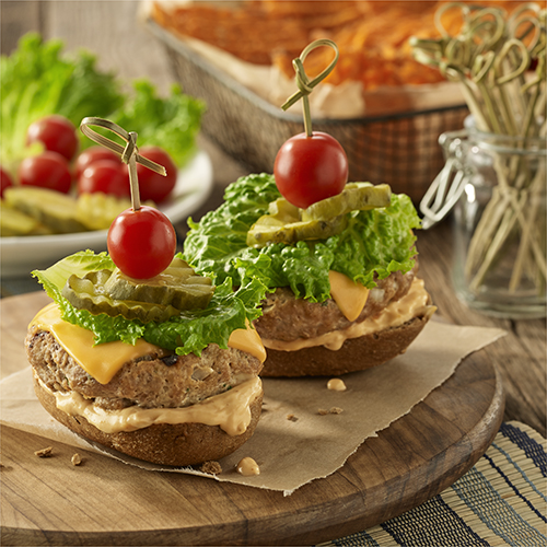 Grilled Open Faced Chipotle Cheddar Turkey Burgers