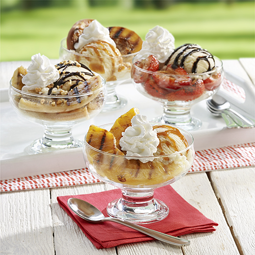 Grilled Fruit Ice Cream Sundaes