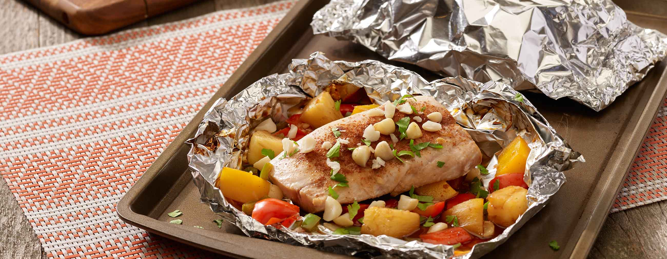 Grilled Hawaiian Mahi Mahi Foil Packets