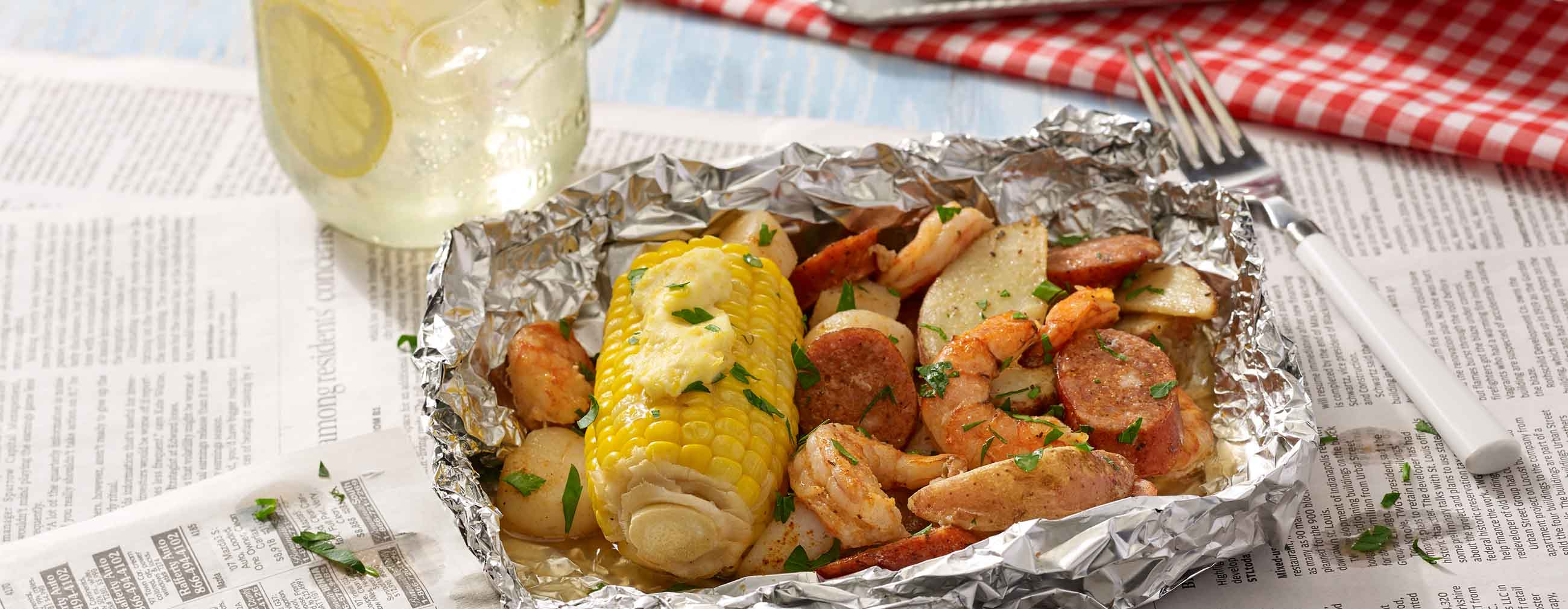 Grilled Seafood Boil Foil Packets