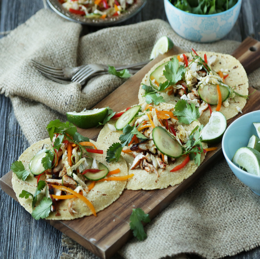 Korean BBQ Chicken Tacos with Sweet Coleslaw